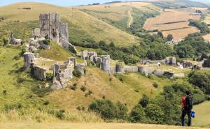 A view of Corfe Castle.